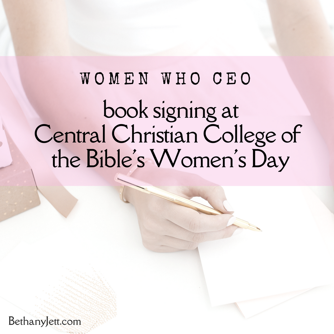 Book signing at Central Christian College's Women's Day 2018