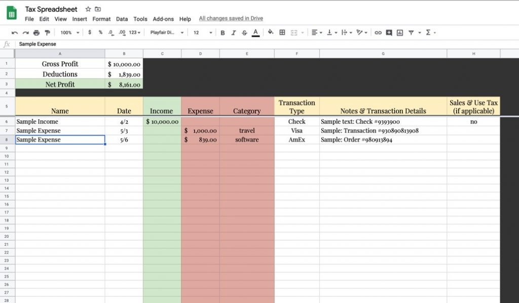 Google Spreadsheet for Easy Tax Records