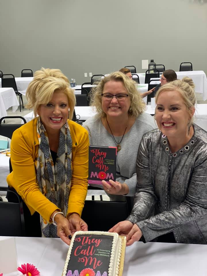 Michelle and Bethany with their They Call Me Mom Kregel publisher Catherine DeVries